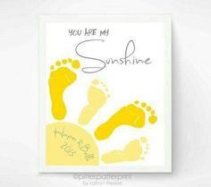 inch You Are My Sunshine Wall Art Print - Footprint Sun, Playroom Art, Sibling Art, Gray & Yellow Nursery Art, Baby Footprint Art by shamimi Mothers Day Crafts For Kids, Fathers Day Crafts, Grandparents Day Crafts, Toddler Art, Toddler Crafts, Baby Crafts, Crafts To Do, Crafts For Babies, Family Crafts