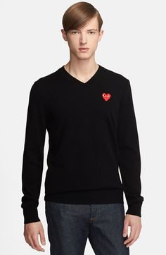 Comme des Garçons 'Play' Wool V-Neck Sweater with Heart Appliqué available at #Nordstrom