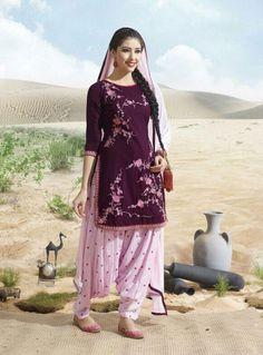 Burgundy Pure #Cotton #Patiala Suit
