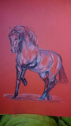 Pastel sketch on colored paper