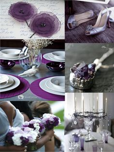 Purple and grey inspiration board including wedding shoes bouquets and cute boutonnieres