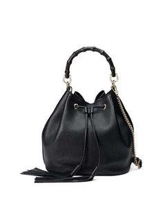 Gucci Miss Bamboo Medium Leather Bucket Bag, Black