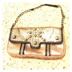 BJ golden Wristlet evening small purse cc pockets Has 2 cc pockets on the inside - check pics for details - beautiful purse! I have 2 other matching pieces in my closet. Make me an offer! Betsey Johnson Bags Mini Bags