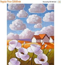 Art Print Sale White Flower Clouds, Summer Cottage Floral Art Print, Country Folk Landscape, Vertical 8x11 Giclee Reproduction Artwork by Ca