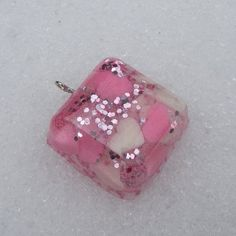 Square Candy Heart & Glitter Pendant on Etsy, $8.00