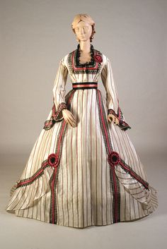 Dress of the day: White silk gauze dress with black and red stripes, American, late KSUM Kent State University Museum Civil War Fashion, 1800s Fashion, 19th Century Fashion, Victorian Fashion, Vintage Fashion, Victorian Dresses, Victorian Gothic, Gothic Lolita, Vintage Outfits