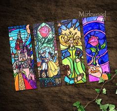Beauty and the Beast Stained Glass Bookmarks |  Colorful Beauty and the Beast Printable Bookmarks Set of 4 |  Castle and Rose Stained Glass by MirkwoodScribes on Etsy https://www.etsy.com/listing/456554176/beauty-and-the-beast-stained-glass