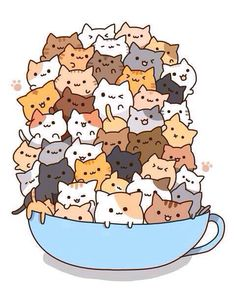 Count how many times to do it by how many cats there are in the cup! )A cup of strong catachino.) And some kawaii neko atsume kitties! Chat Kawaii, Arte Do Kawaii, Kawaii Cat, Kawaii Shop, Neko Cat, Chibi Cat, Kawaii Stuff, Kawaii Things, I Love Cats