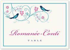 Leah and Luna Birds Wedding Table Names