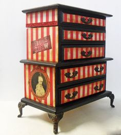 Gothic Jewelry Box - Freak Show Jewelry Box - Upcycled Jewelry Cabinet