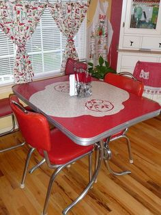 vintage, kitchen, red - I could paint the top of my table like this and do the curtain around the bottom....
