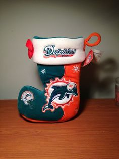 "Team Beans NFL Miami Dolphins Christmas Xmas Holiday Plush Stocking - 11"" - New!"