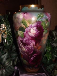 Willets Belleek Spectacular Burgundy Red and Pink Roses with Amazing from allthingslovelee on Ruby Lane