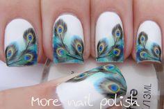 Peacock water decal nail art - More Nail Polish