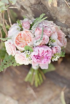 Classic Pink & Peach Rose Bouquet. A romantic blush and peach bouquet of garden and standard roses, created by Floral Occasions.