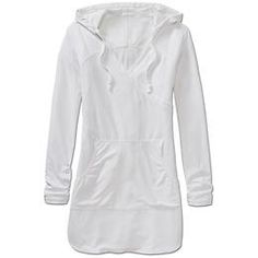 Wick-It™ Wader Coverup - Our supremely-breathable UPF Wick-It™ Waffle fabric in a longer-length hoodie cover-up to protect more of your skin. White Beach Cover Up, Beach Gear, Come Undone, Hoodie Dress, Summer Outfits, Fashion Outfits, My Style, How To Wear, Clothes