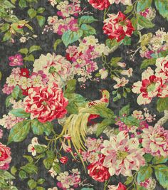 Floral upholstery fabric, Flowing graceful floral design with charming colors. Content: 100% Cotton Width: 54 inches Fabric Type: Print Upholstery Grade: N/A Horizontal Repeat: 27 inches Vertical Repe