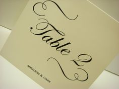 Wedding Table Number Tented Design of Elegant Swirls by wedology, $2.25