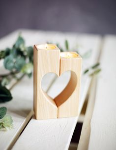 Heart Candle holders Wooden Candle Holder von WoodenEngravedShop