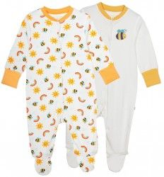 Frugi Lovely Babygrow 2 Pack - Sunny Buzzy Bee (NB - 6-12m)