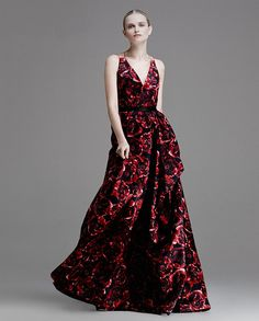 FLORALS - Florals take on a darker hue with this Jason Wu gown. 212 872 2558