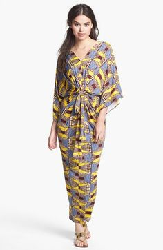 Tbags Los Angeles Print Double-V Kimono Maxi Dress available at #Nordstrom