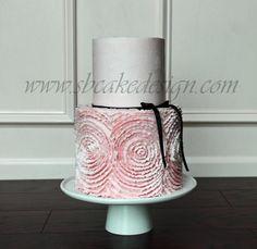 Shannon Bond Cake Design is a home-based cake studio providing delicious & beautiful, custom cakes and wedding cakes for the Olathe and Kansas City areas. Buttercream Rosette Cake, Ruffle Cake, Gorgeous Cakes, Pretty Cakes, Cake Boarders, City Cake, Cake Factory, Bridal Shower Cakes, Dream Cake