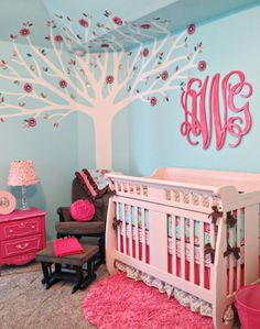 Beautiful combinations.. Londyn pink aqua baby bedding by Caden Lane - love the monogram over the crib!