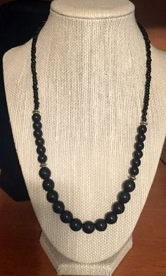 """20"""" Black Beaded Necklace by JCCUSTOMSDESIGNS on Etsy"""