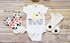 Cute Baby Onesies, Baby Shirts, Kids Shirts, Baby Farm Animals, Pig Shirt, Goat Shirt, Baby Pigs, Farm Birthday, Baby Grows
