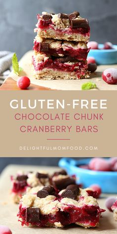 These delicious gluten free chocolate chunk cranberry bars are a healthy dessert or snack recipe idea! An oatmeal bar that is dairy free vegan and gluten-free in addition to the fact that you are going to love how simple they are to make! Gluten Free Bars, Healthy Gluten Free Recipes, Healthy Dessert Recipes, Gluten Free Desserts, Vegan Desserts, Fun Desserts, Snack Recipes, Dairy Free, Bar Recipes