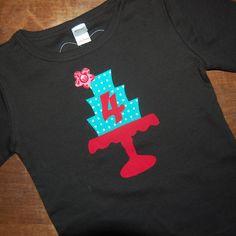 Girls birthday shirt  Ready To ship 4th birthday by modernfrills, $28.95