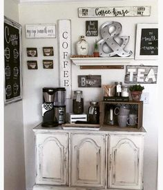 Bar ideas #Coffee station ideas you need to see (coffe bar ideas) #Coffeebar #Coffeestation Coffee Bar Ideas, Diy Coffe Bar, Coffe Bar Signs, Wine And Coffee Bar, Coffee Bar Home, Coffee Bar Design, Home Coffee Stations, Kitchen Wall Decor Rustic, Coffee Kitchen Decor