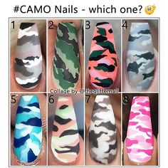– Inspo What about a camouflage accent in your ne.- – Inspo What about a camouflage accent in your next set of nails? Which one is your favourite? – – – – Nails by: N 1 DallasJNails N 2 Jadetangtheartist N 3 – – – – – - Camo Nail Designs, Cute Acrylic Nail Designs, Best Acrylic Nails, Nail Art Designs, Nail Swag, Camo Nail Art, Tiger Nails, Tiger Nail Art, Fabulous Nails