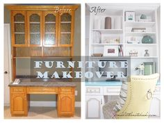 Here is the Before-and-after on that desk design that I love. The best part is it was made from an older dinning room hutch. Clever, clever!