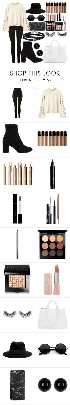 """Happy Holidays!"" by diamond139 ❤ liked on Polyvore featuring beauty, Topshop, Balenciaga, NYX, Gucci, MAC Cosmetics, MAKE UP FOR EVER, Bobbi Brown Cosmetics, Maybelline and Velour Lashes"