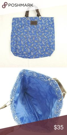 951d96aa67 Neiman Marcus Blue Paisley Fabric Tote 1