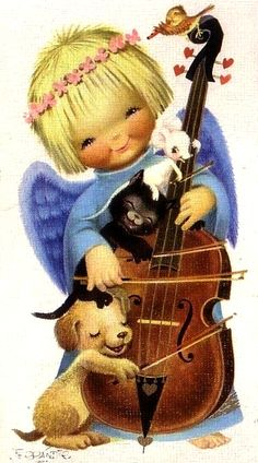 Vintage Greeting Cards, Vintage Christmas Cards, Vintage Postcards, Vintage Illustration, Christmas Illustration, Christmas Card Pictures, Christmas Pictures, Illustrator, Angel Cards