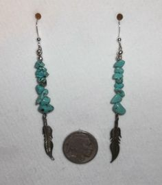 Native American Style Sterling Silver USA Turquoise Feather Earrings #Handmade