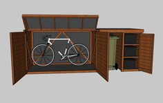 outdoor bike shed, with recycling bin attachment