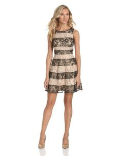 Amazon.com: Jessica Simpson Women's Stripe Lace Dress: Clothing
