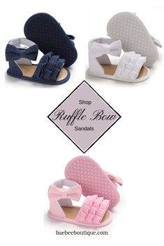 From parties to play, these cute ruffle bow sandals are a warm weather favorite. Stylish Baby Clothes, Bow Sandals, Everything Baby, Velcro Straps, New Moms, Warm Weather, Baby Shoes, Parties, Bows