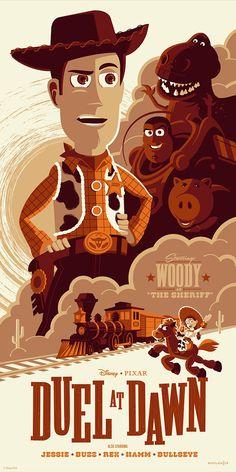 Cyclops Print Works Print Duel at Dawn (Toy Story E.- Cyclops Print Works Print Duel at Dawn (Toy Story Evil Dr. Porkchop Variant by Tom Whalen - Vintage Disney Posters, Retro Disney, Vintage Cartoons, Disney Movie Posters, Cartoon Posters, Vintage Disney Art, Film Posters, Vintage Art, Disney Pixar