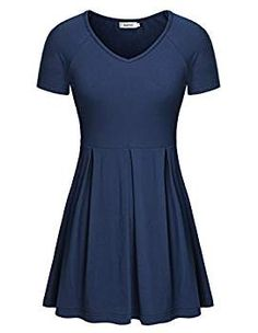 dd1b3887921 Bepei Women Short Sleeve Fit And Flare Pleated Fitted Empire Waist Peplum  Tops. Medium- · Tunic Tops For LeggingsTunic ...