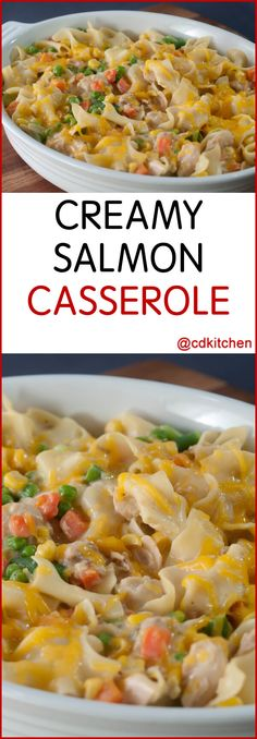 Creamy Salmon Casserole - Add a seafood option to your casserole arsenal. Salmon, vegetables and noodles come together under melty cheddar cheese, because what isn't better with cheese? Evaporated milk makes this casserole extra creamy. | CDKitchen.com
