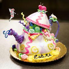 "Alice in Wonderland Teapot | Alice in Wonderland"" theme Teapot cake for a baby shower."