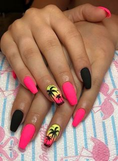 Want to know how to do gel nails at home? Learn the fundamentals with our DIY tutorial that will guide you step by step to professional salon quality nails. Neon Acrylic Nails, Halloween Acrylic Nails, Neon Nails, Pink Nails, Summer Nails Neon, Coffin Nails Designs Summer, Neon Nail Designs, Acrylic Nail Designs, Tropical Nail Designs
