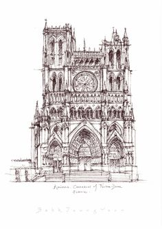 Cathedral Notre-Dame of Amiens, France / sketch by Joungyeon, Bahk (Grid-A architecture) grid-a.net