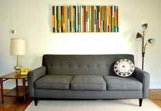 Contemporary Living Room Interior with Unique DIY Colorful Hand-Painted Wood Panels Wall Art Ideas, Decoration & Interior