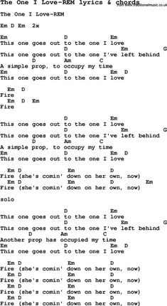 Love Song Lyrics for: The One I Love-REM with chords for Ukulele, Guitar Banjo etc. Love Song Lyrics for: The One I Love-REM with chords for Ukulele, Guitar Banjo etc. Guitar Chords And Lyrics, Guitar Chords Beginner, Love Songs Lyrics, Music Lyrics, Guitar Tabs Songs, Easy Guitar Songs, Ukulele Tabs, Guitar Tips, Ukulele Chords
